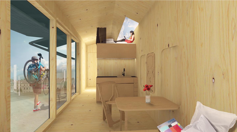 cabin spacey wohnen auf dem dach. Black Bedroom Furniture Sets. Home Design Ideas