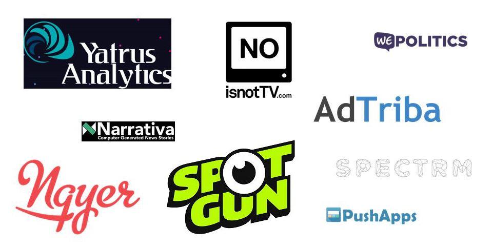 Die Logos der Startups, die bisher beim Next Media Accelerator dabei waren.