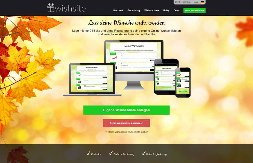 wishsite Start-up Geschenke
