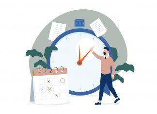 Darstellung von Zeitmanagement durch eine Uhr und einen Kalender