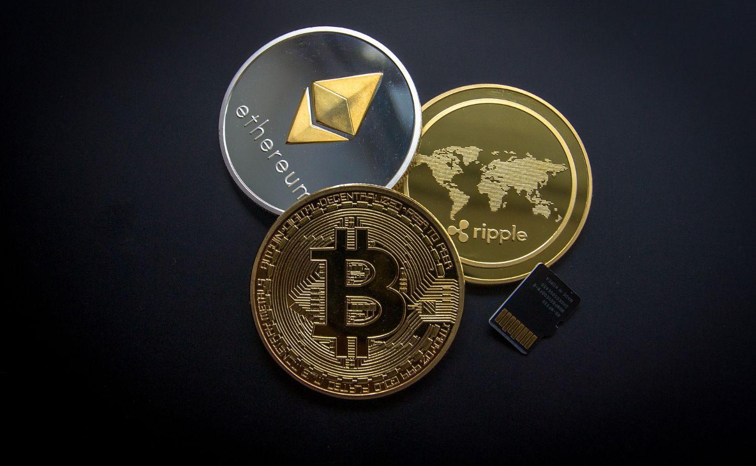 Abbildung der Kryptowährungen in Münuform